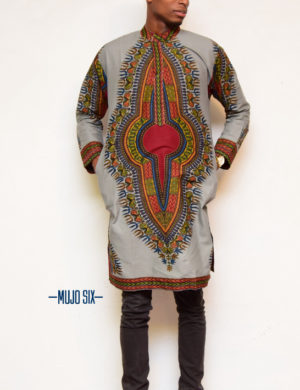 Mujosix Longline long sleeve dashiki Mandarin collar