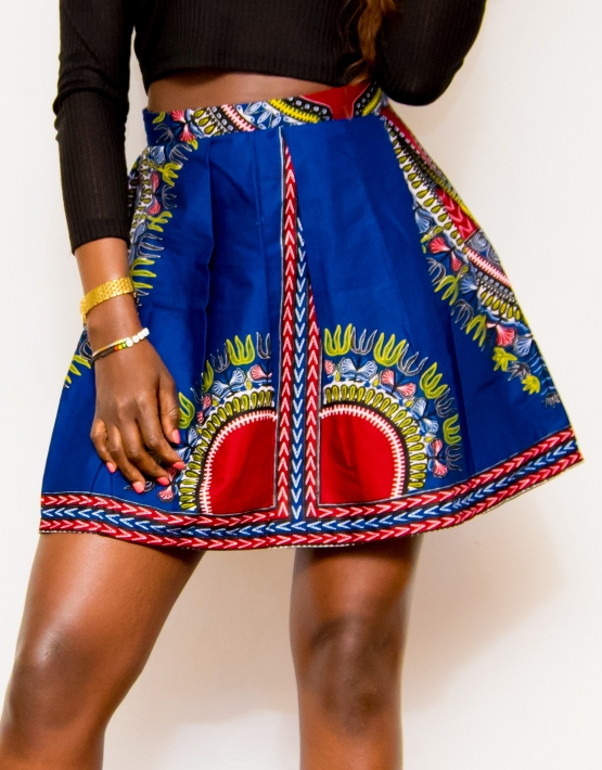 77c3a7237f27 JUMI BLUE DASHIKI MINI SKIRT All Dashiki